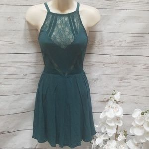 Kendall and Kylie Teal Lace Fit n Flare Mini Dress
